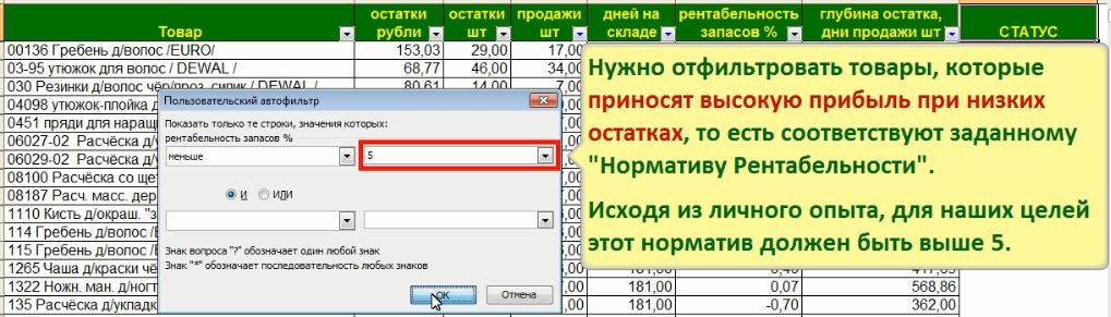 Фильтрация запасов по нормативу Рентабельности